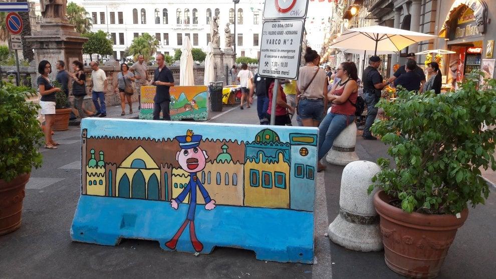 """A Palermo i """"New Jersey"""" antiterrorismo decorati dai bambini"""