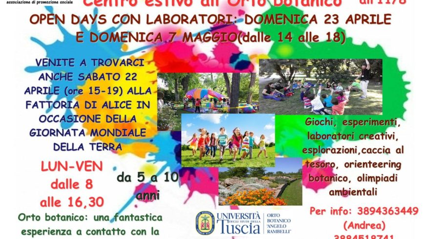 OPEN DAY ALL'ORTO BOTANICO CON HUMUS SAPIENS (Viterbo)