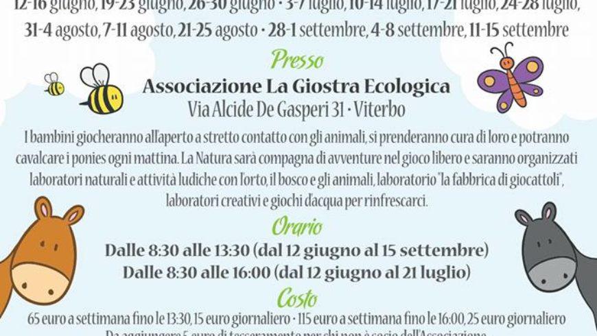 """APERTE ISCRIZIONI AL CENTRO ESTIVO """"LA GIOSTRA ECOLOGICA"""" (Viterbo)"""