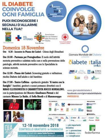 Giornata Mondiale del Diabete Viterbo .Appuntamenti per grandi e piccoli